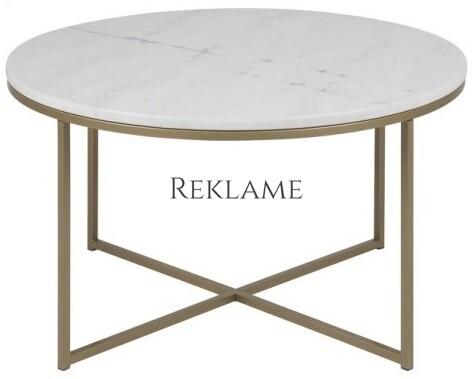 Alisma – Sofabord m. glasplade med marmorprint (Hvid)