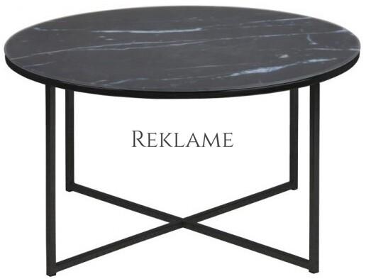 Alisma – Sofabord m. glasplade med marmorprint (Sort)